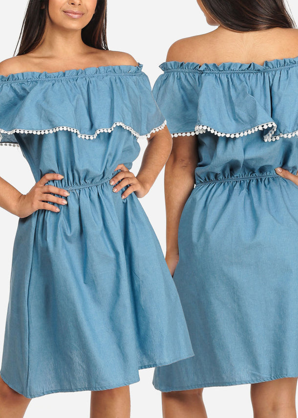 Denim Off-Shoulder Dresses (3 PACK G42)