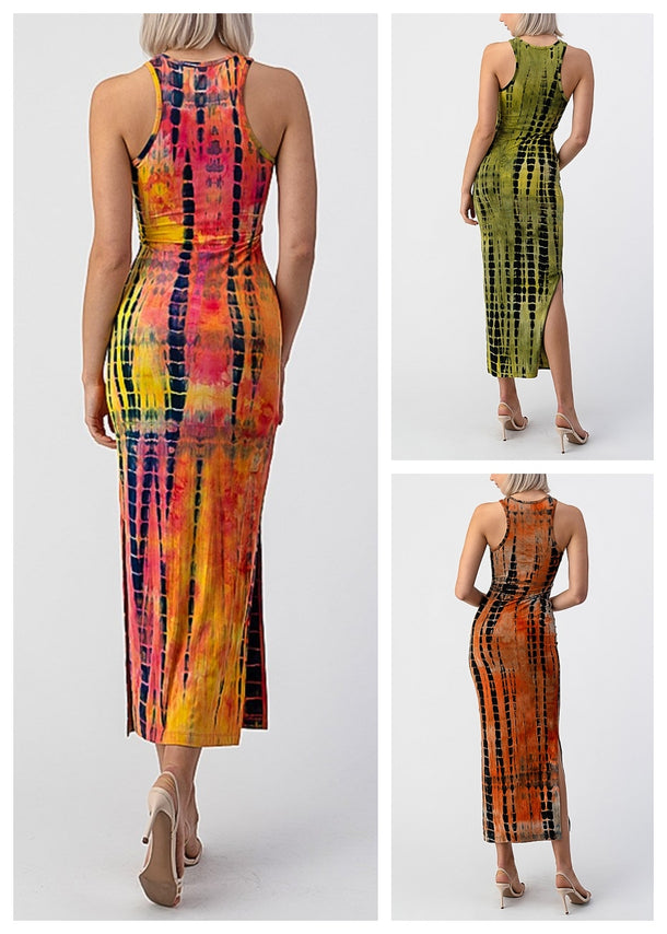 Tie Dye Sleeveless Maxi Dresses (3 PACK G54)