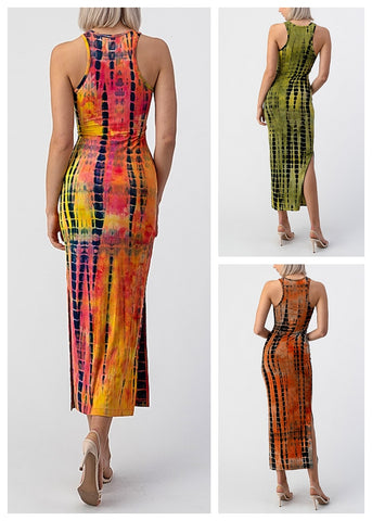 Tie Dye Sleeveless Maxi Dresses (3 PACK)
