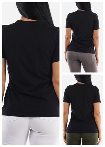Black Graphic Tops (3 PACK)