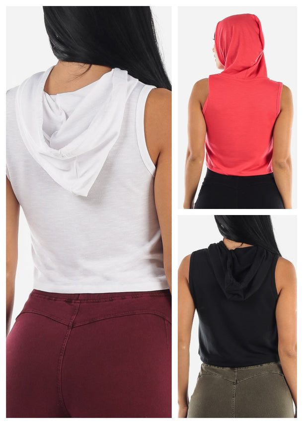 Sleeveless Cropped Hoodie (3 PACK G63)