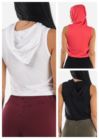Sleeveless Cropped Hoodie (3 PACK)