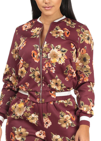 Trendy Long Sleeves Floral Baseball Jacket W Pockets (3 PACK G11)