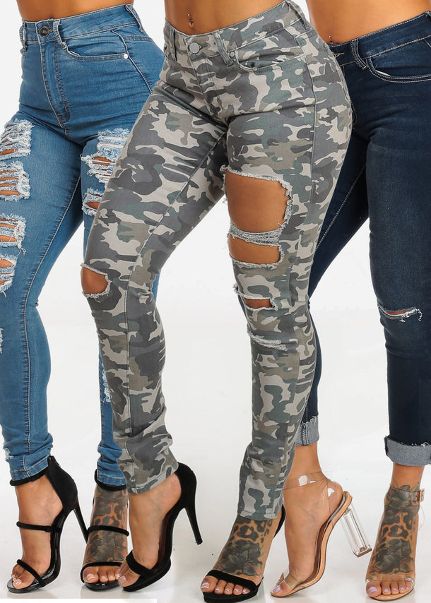 SIZE 5 Assorted Distressed Ripped Skinny Jeans (3 PACK)