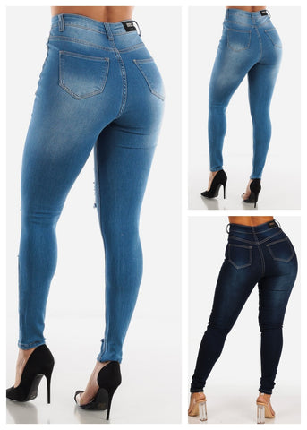 Image of High Rise Ripped Jeans (3 PACK G73)