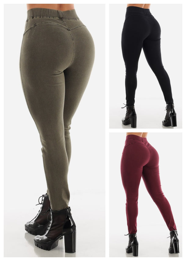 Pull On Butt Lifting Jeggings (3 PACK G65)