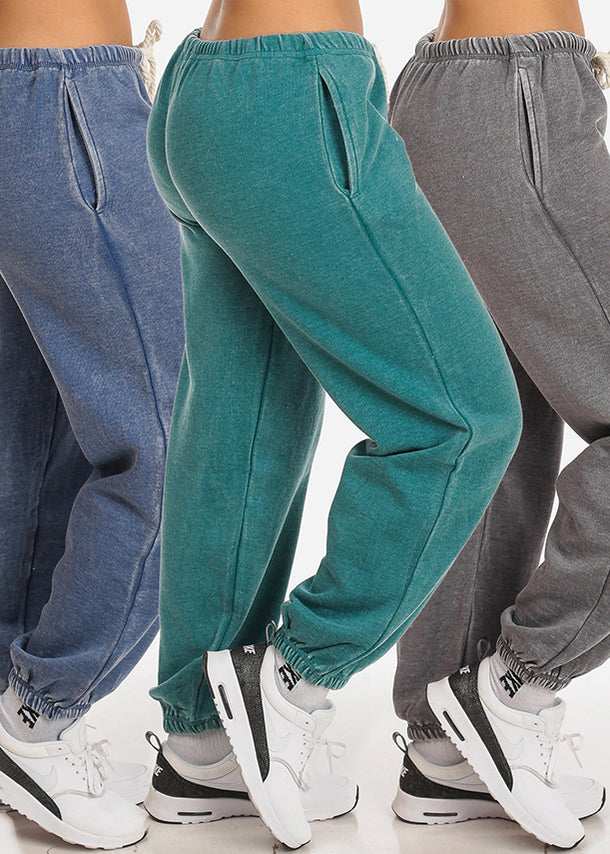 Casual Low Waist Drawstring Waist Jogger Pants (3 PACK)