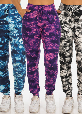 Image of Women's Junior Ladies Work Out Gym Casual Super Soft Supper Stretchy Tie Dye Joggers Mega Pack Deal Sale