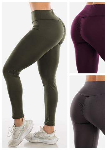 Image of Activewear Push Up Leggings (3 PACK G75)