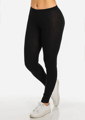 Essential Basic Stretchy Mid Rise Solid Color Stylish Leggings (3 PACK)