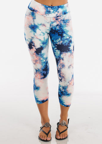 Image of Assorted Cute Floral Stripe And Tie Dye Print Stretchy Capri Leggings Pack Deals On Sale Mega Savings Clearance