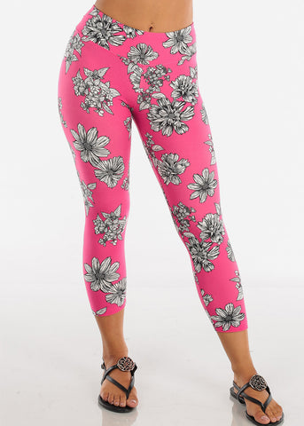 Assorted Cute Floral Stripe And Tie Dye Print Stretchy Capri Leggings Pack Deals On Sale Mega Savings Clearance