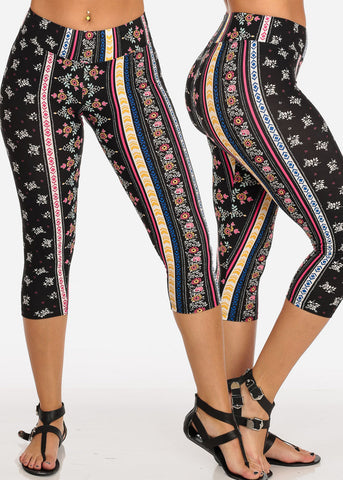 Image of Mega Pack Deal Sale Savings Affordable High Waisted Printed Super Stretchy Capri Leggings