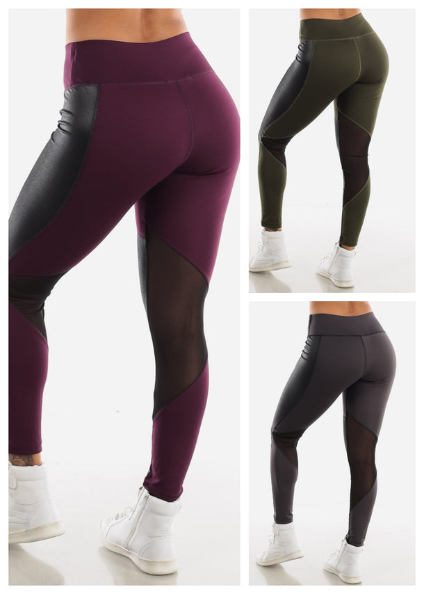 Pleather Detail Leggings (3 PACK G43)