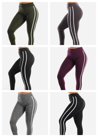 Activewear Stripe Sides Leggings (6 PACK)
