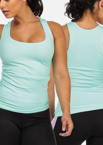 Image of ONE SIZE Basic Sleeveless Solid Classic Tops (3 PACK G41)