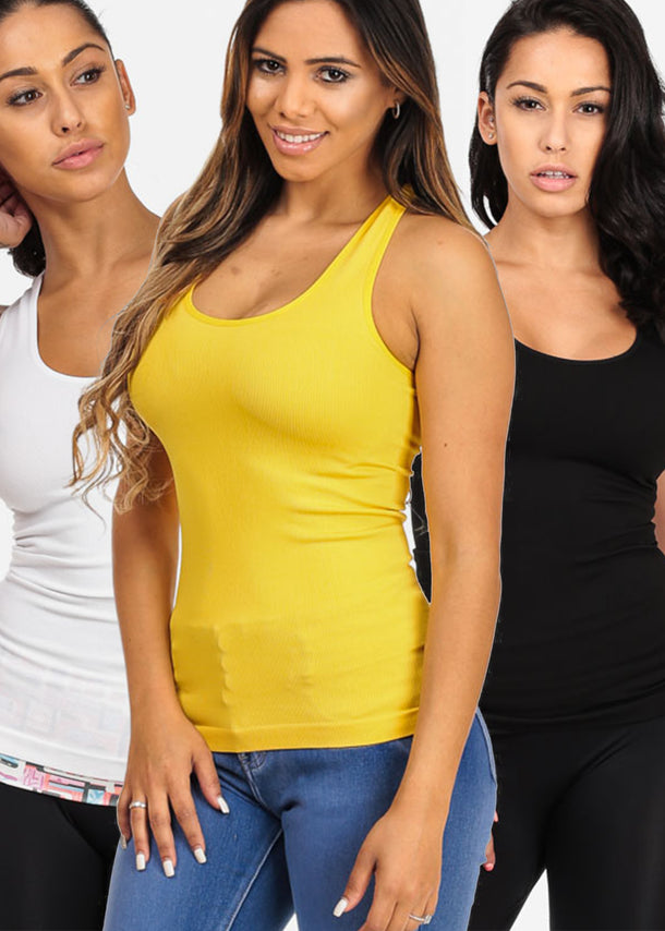 ONE SIZE Essential Basic Must Have Sleeveless Solid Classic Tops (3 PACK)