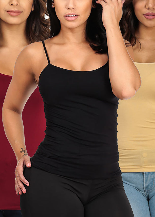 ONE SIZE Essential Basic Seamless Spaghetti Strap Tops (3 PACK)