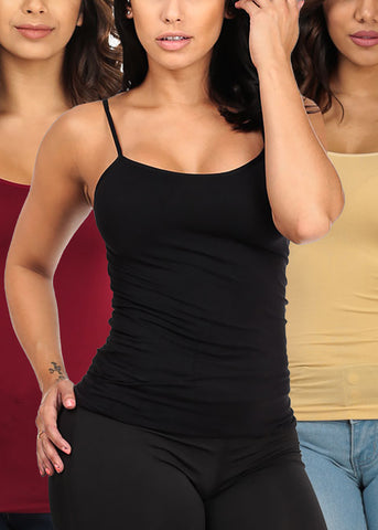 Image of ONE SIZE Essential Basic Seamless Spaghetti Strap Tops (3 PACK)