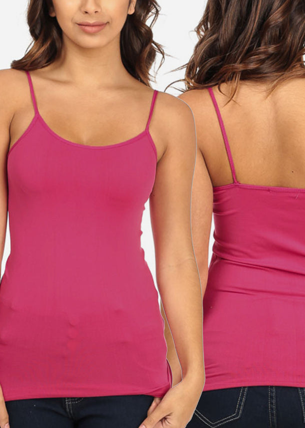 ONE SIZE Spaghetti Straps Solid Stretchy Seamless Basic Tops (3 PACK G41)