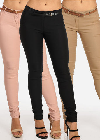 Image of Women's Junior Ladies Dressy Office Business Professional Wear Low Rise Stretchy Dress Pants Mega Pack Clearance Sale