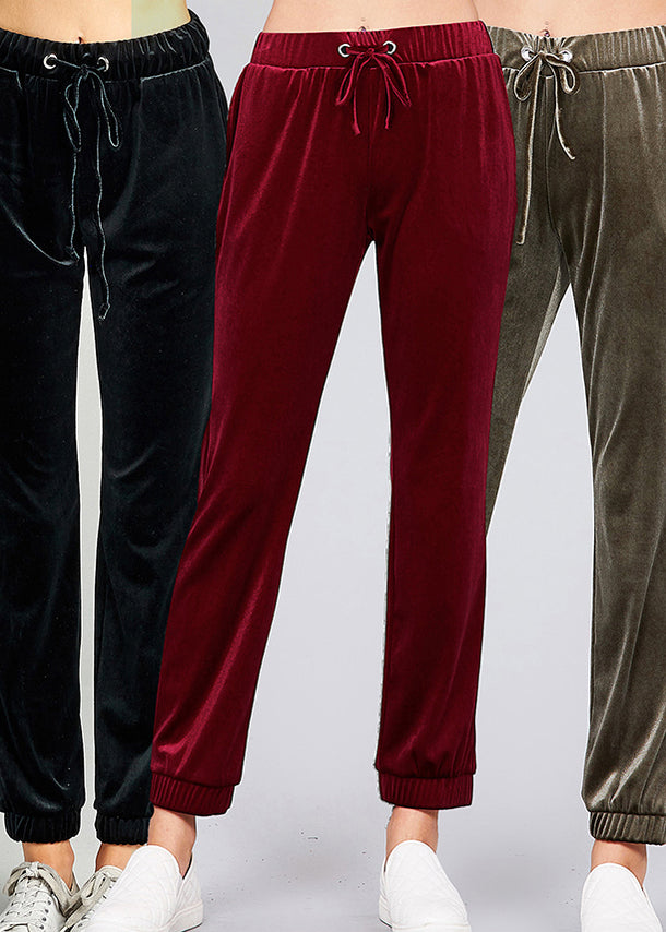 Solid Comfy Soft High Waisted Velvet Jogger Pants (3 PACK)
