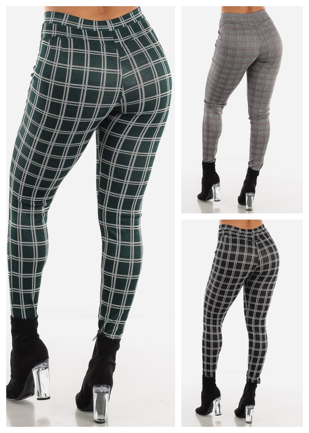 Butt Lifting Plaid Shinny Skinny Pants (3 PACK G34)