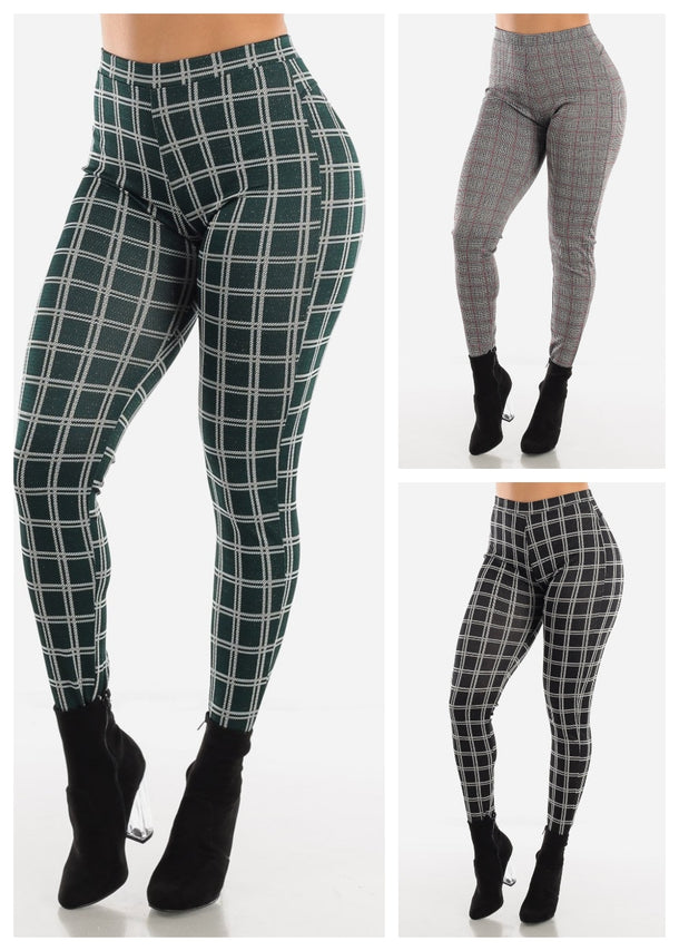 Butt Lifting Plaid Shinny Skinny Pants (3 PACK)