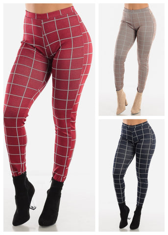 Butt Lifting Plaid Skinny Pants (3 PACK)