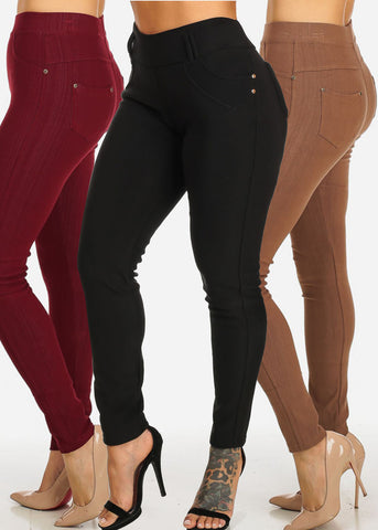 Women's Junior Ladies Casual Cute High Waisted Pull On Stretchy Skinny Leg Pants Mega Sale Clearance Pack Deals