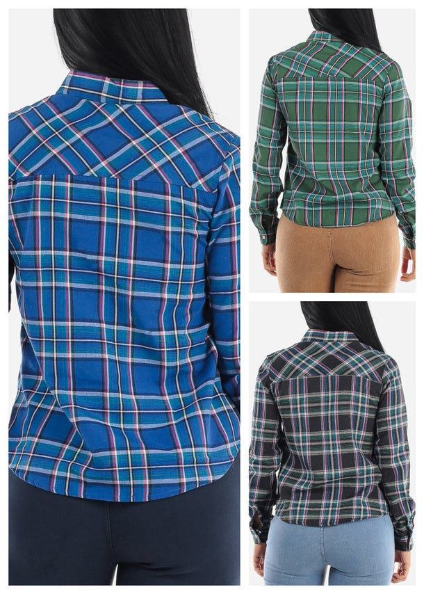 Snap Up Plaid Shirt (3 PACK G84)