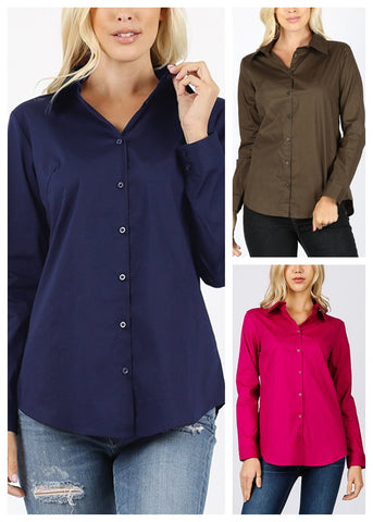 Missy Fit Button Up Shirts (3 PACK)
