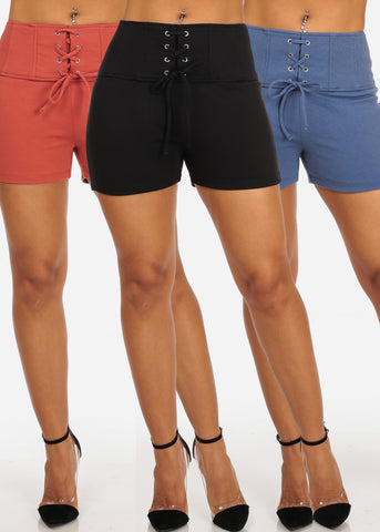 Women's Junior Ladies High Waisted Summer Beach Spring Fun Colors Stretchy lace Up Front Sexy Shorts Mega Pack Deal Sale