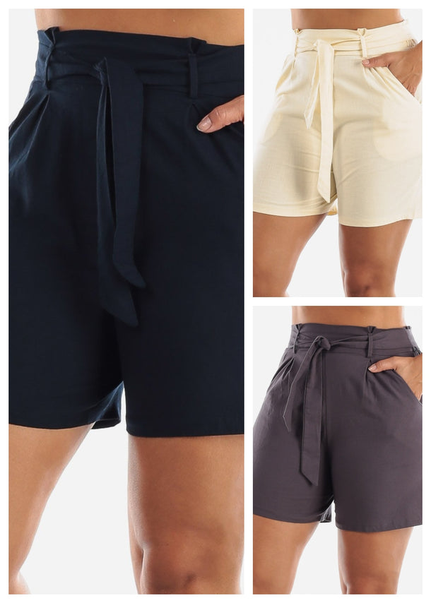 Belted Cotton Shorts (3 PACK)