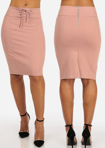 Image of Women's Junior Ladies Sexy Business Professional Career Wear Solid Color Lace Up Waist Detail Solid Color Pencil Skirts Pack Deal Mega Sale