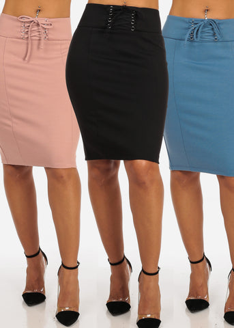 Women's Junior Ladies Sexy Business Professional Career Wear Solid Color Lace Up Waist Detail Solid Color Pencil Skirts Pack Deal Mega Sale