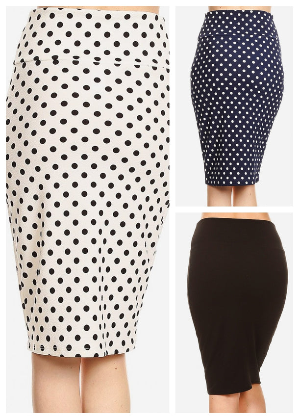 Pull On High Waisted Pencil Skirt (3 PACK G54)