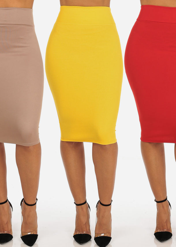 Mega Pack Sale Savings Affordable Office Business Career Wear Pencil Midi Skirts