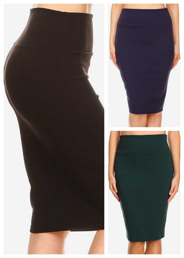 High Waisted Pencil Skirt (3 PACK)