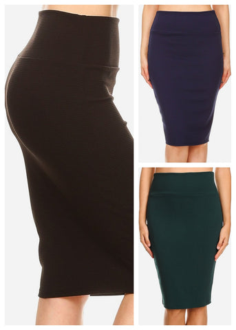 Image of High Waisted Pencil Skirt (3 PACK)
