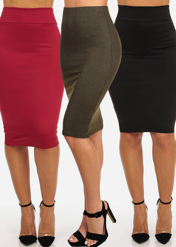 Pencil Solid Skirts (3 PACK)