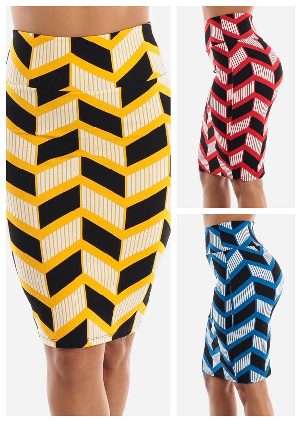 Zig Zag Printed Pencil Skirt (3 PACK G64)