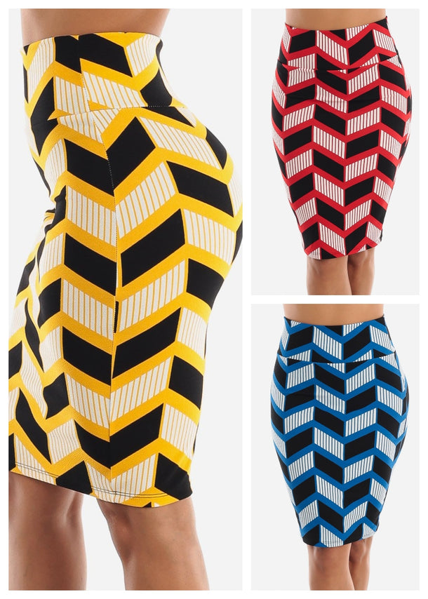 Zig Zag Printed Pencil Skirt (3 PACK)