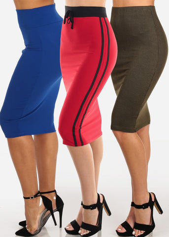 Image of High Waisted Stretchy Assorted Color And Print Skirts Mega Pack Deal Sale Clearance