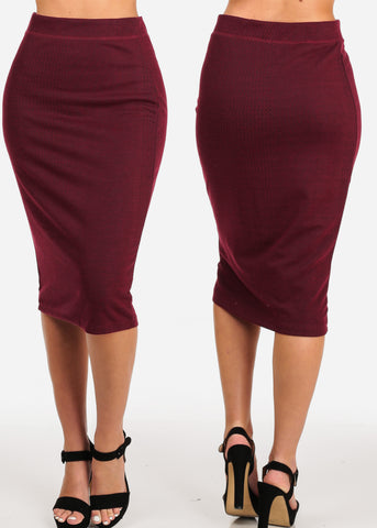 Women's Junior Ladies Stylish Office Business Professional Career Wear Solid Color High Rise Pencil Midi Skirts Mega Pack Sale