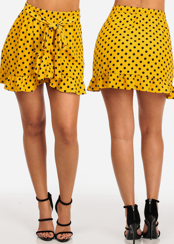 Women's Junior Ladies Sexy Cute Casual Going Out Ruffle Detail Short Mini Polka Dot Print Stretchy Skirts Pac Deal Sale