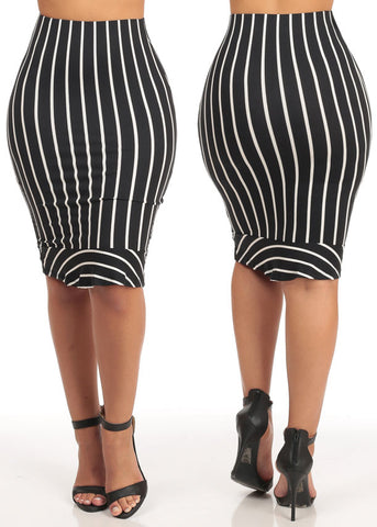 Image of High Rise Slim Fit Stripe Midi Skirts  ( 3 PACK G44)