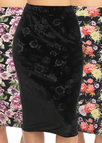 High Rise Slim Fit Floral Skirts ( 3 PACK  G63)