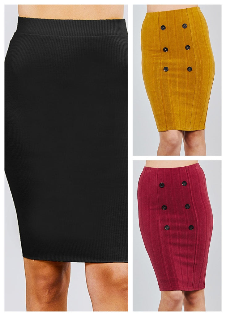 Ribbed Midi Skirts (3 PACK)