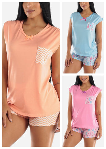 Image of Top & Shorts PJ Set (3 PACK)
